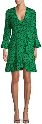 Tanya Taylor Print Silk Wrap Dress