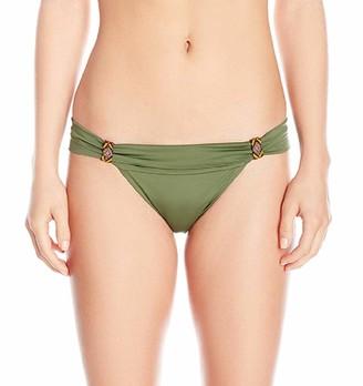 Agua Bendita Women's Solid Bendito Cetrino Hipster Bikini Bottom with Beading Details