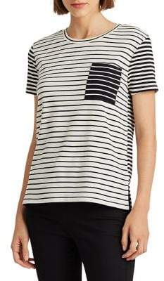 Lauren Ralph Lauren Pinstripe Stretch Cotton Tee