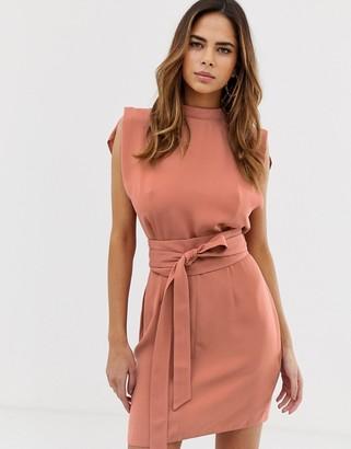 Asos Design DESIGN split sleeve mini dress with obi belt-Red