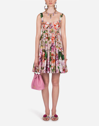 Dolce & Gabbana Short Sleeveless Floral-Print Poplin Dress