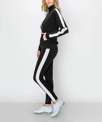 Kimberly C Women's Leggings Black/White - Black & White Side-Stripe Zip-Up Jacket & Leggings - Women
