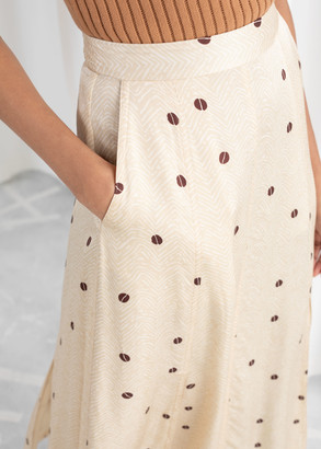 And other stories Satin Coffee Bean Midi Skirt