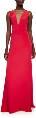 Monique Lhuillier Sleeveless Deep V-Neck Gown