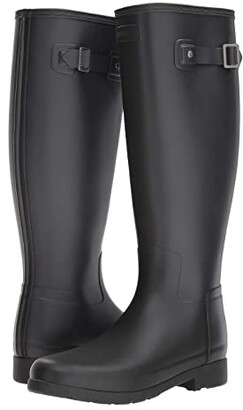 Hunter Refined Wide Calf Rain Boot Matte (Black) Women's Rain Boots