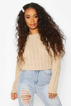 boohoo Petite Cropped Boxy Cable Knitted Jumper