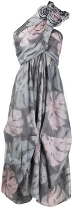 Giorgio Armani Foliage Print Pleated Dress