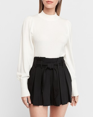 Express High Waisted Sash Tie Pleated Shorts