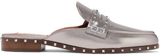 Valentino Soul Rockstud Metallic Leather Slippers