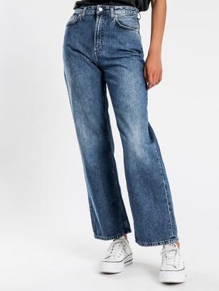 Nudie Jeans Clean Eileen Wide Leg Jeans in Pure Navy