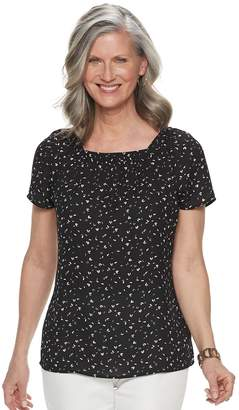 Croft & Barrow Women's Print Squareneck Top