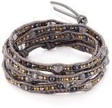 Chan Luu Gray Mix Leather Wrap Bracelet