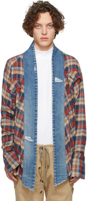 Greg Lauren Blue and Red Western Kimono Shirt
