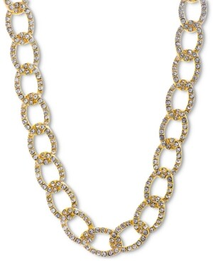 "Steve Madden Gold-Tone Pave Curb Link 18"" Collar Necklace"