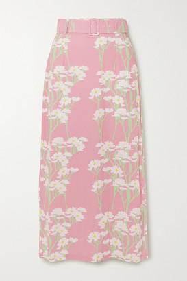 MONICA Bernadette BERNADETTE Belted Floral-print Stretch-jersey Midi Skirt - Antique rose