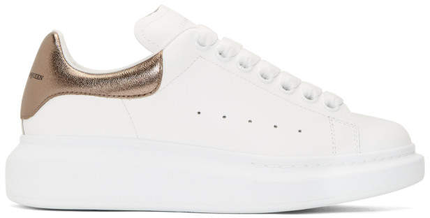 Alexander McQueen White and Rose Gold Oversized Sneakers