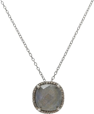 ADORNIA Sterling Silver Labradorite & Diamond Lara Necklace - 0.70 ctw