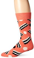 Happy Socks Men's 1pk Unisex Combed Cotton Crew-Pink Bacon Dot
