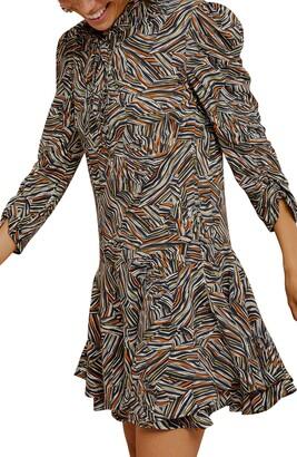 Topshop Tie Neck Retro Print Minidress