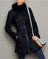 The Fur Vault Fox-Trim Shearling Coat