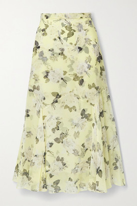 Erdem Shea Floral-print Silk-chiffon Midi Skirt - Pastel yellow