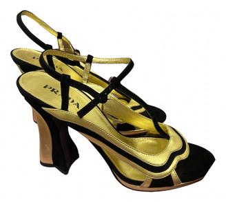 Prada Gold Suede Sandals