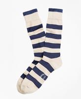 Brooks Brothers Marled Rugby Stripe Crew Socks