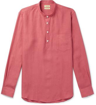 Grandad-Collar Linen Half-Placket Shirt