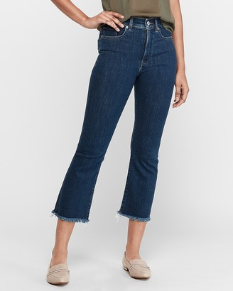 Express High Waisted Frayed Hem Cropped Flare Jeans