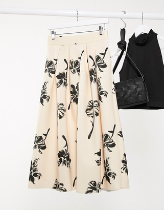 ASOS DESIGN floral printed midi prom scuba skirt in pale peach