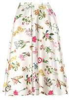 N°21 Floral-printed satin midi skirt