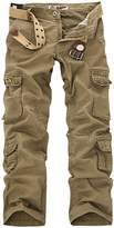 Aubig Men's Military Army Pants Casual Tactical Trousers Multiple Pocket Cargo Pants-Green 32