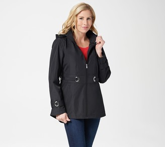Susan Graver Water Resistant Zip-Front Jacket with Grommet Trim
