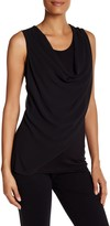 Laundry by Shelli Segal Solid Drape Front Mixed Media Shirt