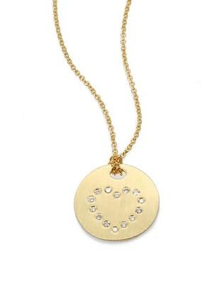 Roberto Coin Tiny Treasures 18K Yellow Gold & Diamond Heart Disc Pendant Necklace