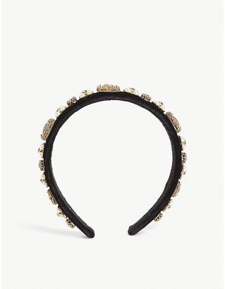 Selfridges Crystal and pearl cluster velvet headband
