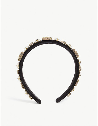 Parkside London Crystal and pearl cluster velvet headband