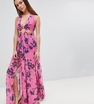 Asos DESIGN Petite Pinky Floral Chiffon Maxi Beach Dress With Ring