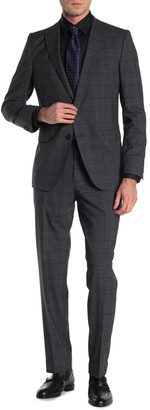HUGO BOSS Wool Plain Checkered Two Button Notch Lapel Suit