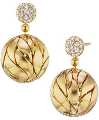 Petal 18K Yellow Gold & Diamond Ball Drop Earrings