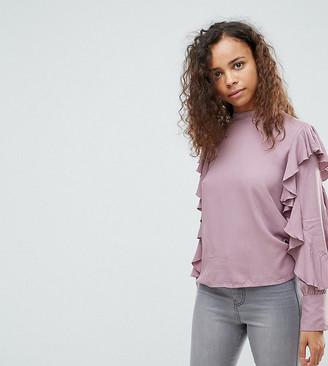 Vero Moda Petite Frill Sleeve Top-Purple