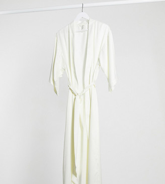 Lindex bridal long satin kimono in off white