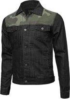 Youstar Camouflage Printed Denim Jacket Black Size S