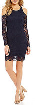 Jump Long Illusion Sleeve Cold-Shoulder Lace Scalloped Hem Sheath Dress