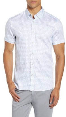 Ted Baker Slim Fit Geo Print Short Sleeve Button-Up Shirt
