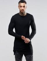 Asos Rib Super Longline Muscle Long Sleeve T-Shirt With Twist Hem Detail