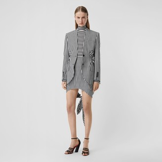 Burberry Scarf-tie Detail Gingham Technical Wool Mini Skirt