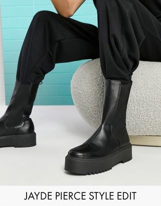 ASOS DESIGN Alana chunky chelsea boots in black