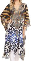 Sakkas P1 - Libra Mid Length Caftan Dress / Cover Up With Tribal Print / Rhinestones And V-Neck - 1728- OS