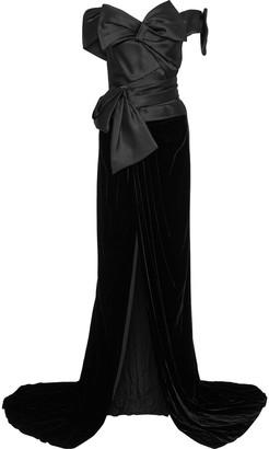 Marchesa Off-the-shoulder Bow-embellished Satin And Velvet Gown